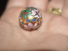 ONE Large Vintage Chinese Enamel Cloisonne Gold Round Bead Flowers 18mm #1