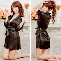 Nightwear Kimono Sexy Nightwear Silk Satin Lace Dressing Gown Bath Robe ft