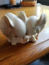 Ceramic Set of Two White Elephants Figurine by Homco 1993