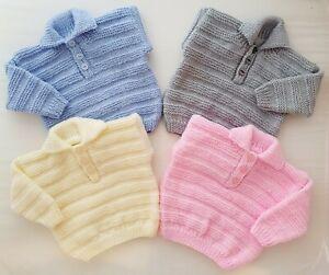 6-9m Baby Baby Boys Girls Jumper Hand Knitted Blue Cream Pink Grey