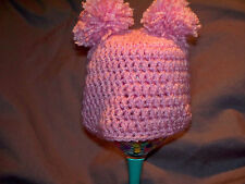 crochet pink double pom pom hat crochet newborn