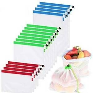 16Pcs Reusable Mesh Produce Bags Lightweight Bags for Fruit Vegetable Toys UK