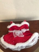 Build a Bear Red & White Christmas Dress w/Fur Trim - EUC
