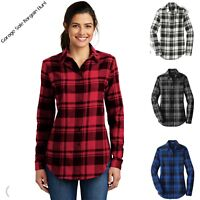 Ladies Womens Plaid Flannel Shirt Tunic XS S M L XL XXL 3XL 4XL Port Authority