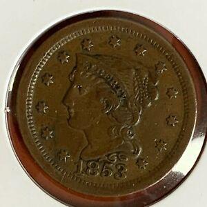1853 Philadelphia Mint Copper Braided Hair Large Cent Higher Grade