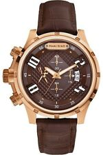 Marc Ecko Mens The GRID Classic LEFTY Chronograph Rose Tone SS Case Brown Watch
