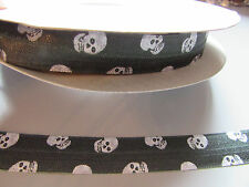 Cráneo Negro y Blanco Pliegue sobre cinta elástica 1.6cm X 1 Metro Costura/Artesanía/pastel