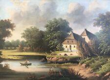Altes Ölgemälde um 1880 Spät Romantiker Landschaft Bauernkaten mit Personen