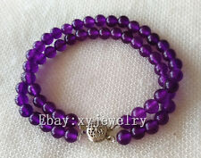 Pretty 2 row 6mm purple jade bead bracelet 7.5 inch