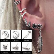 Stud Earrings Gothic Jewelry Gifts Hot 6Pcs/Set Retro Women Silver Owl Leaf Ear