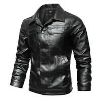 Retro Lederjacken Herren M-4XL Kunstleder Motorradjacken Revers Biker Outwear L
