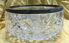 Vintage Russian Classic - Large Cut Crystal and Silver Rim Serving Bowl, c. 1945