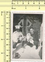 #019 Three Gentleman with Dogs, Abstract Scene Guys Men old photo original