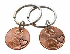 Double Keychain Set 2011 Penny with Heart Around Year; Anniversary Gift