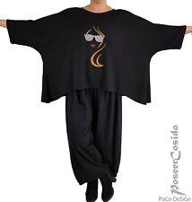 LAGENLOOK Überwurf Shirt Tunika Oversize  L-XL-XXL-XXXL 44 46 48 50 52 54 56 58