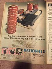 Vintage 1967 National Tape Recorder Radio Australian Print Ad
