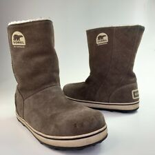 Sorel Womens Glacy Winter Boots Brown Suede Mid Calf Pull On Waterproof 9
