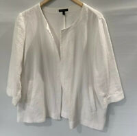 EILEEN FISHER Organic Textured 3/4 Sleeve Pocket Top Short Sleeve Jacket Size XL