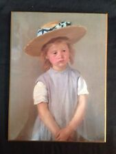 """Vintage National Gallery of Art """"Child in a Straw Hat"""" Reprint on Wood Plaque"""