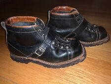 Vtg Womens Elg Gothic/Motorcycle Casual Black Short Boots Sz 8 Strap/Buckle Nr