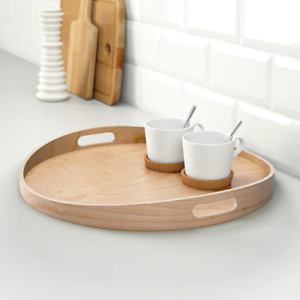 IKEA Round Serving Tray Food Breakfast Kitchen Coffee Tea Table Handle Wood 44cm