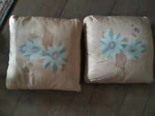 Pair of Blue and Cream Vintage Silk Cushions 30cm Square