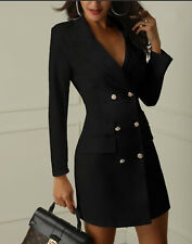 Women Sexy Double Breasted V-Neck Slim Waist Blazer Dress Coat Outwear Outfit MG