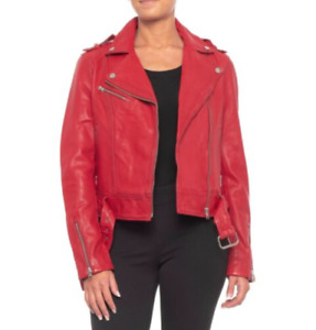 New Soia&kyo Washed Leather Moto Jacket True Red Size XS S M MSRP $595