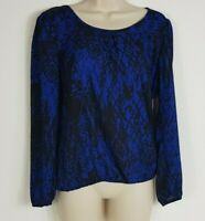 NWT Heartsoul sz small colbalt blue and black long sleeve blouse with cowl back
