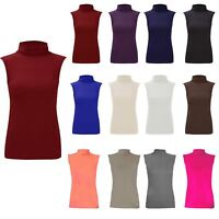 Womens Sleeveless Turtle Neck Stretchy Top Ladies Plain Party Wear Fancy Jumper