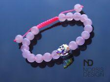 Women Rose Quartz Skull Bracelet with Swarovski Crystal 7-8inch Macrame Healing