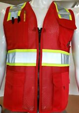 Two ToneHi Vis Reflective Red Safety Vest for Traffic, Security, Volunteer Work