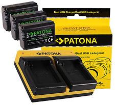 3x Patona Premium Akku NP-FW50 1030mAh  + Dual doubles Ladegerät für Sony NPFW50