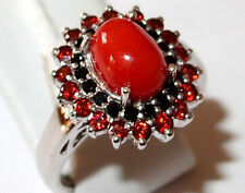 Coral, Garnet and Black Spinel ring in platinum overlay Sterling Silver, Size P.