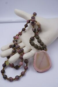 Signed FABULINA PINK QUARTZ Pendant Faceted Beads Natural Stone Necklace 36'' L
