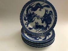 Asiatisches Porzellan 5 Kuchenteller Dekor Blauer Drache signiert Dm.15 cm