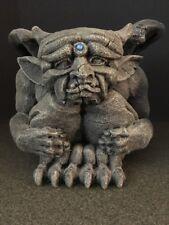 Stone Garden Crouching Gargoyle Horns And Blue Stone 1992 United Design Corp Usa