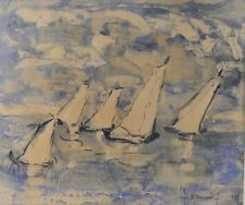 Alice Righter Edmiston (American, 1874 - 1964) Watercolor painting Sailboats