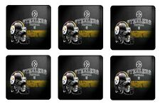 "PITTSBURGH STEELERS COASTERS 1/4"" BAR & BEER SET OF 6"