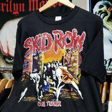 Vintage 80s 90s SKID ROW BL PARKING LOT TOUR tee shirt black rock band metal L