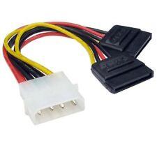 Molex to 2 SATA Dual Power PSU Y Splitter Adaptor Cable Lead 2 Way 4 Pin -15 Pin