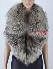 Luxury Real Fox Fur Collar Shawl Cape Wrap Scarf Winter Large Collar Grey
