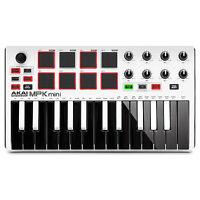 Akai MPK Mini MKII MK2 25-Key Compact USB MIDI Keyboard MPC Pad Controller White