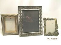3 Metal & Wood Picture Frames Large Medium Small Gold & Silver