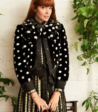 NEW $795 *RARE* MARC JACOBS SPOTTED FAUX FUR JACKET BLACK WHITE DOT 8 (M)