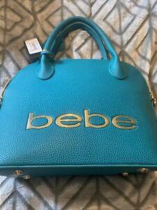 Bebe Fabiola Dome Teal  Logo Purse Handbag With Tags