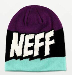 NWT Neff Yeah Purple, Black, & Teal Beanie - OSFM