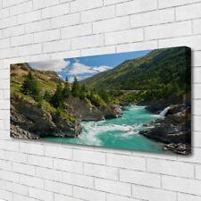 Leinwand-Bilder Wandbild Canvas Kunstdruck 125x50 Berge Fluss Landschaft