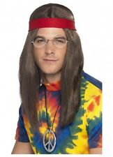 60s Hippy Man Mens Wig Headband and Necklace Instant Costume Kit