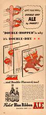 1942 WW2 era Beverage AD PABST BLUE RIBBON ALE Double Dry cute Cartoon ad 070518